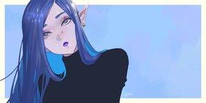 Rating: Safe Score: 34 Tags: blue blue_eyes blue_hair close long_hair original pointed_ears signed tajima_yukie User: FormX
