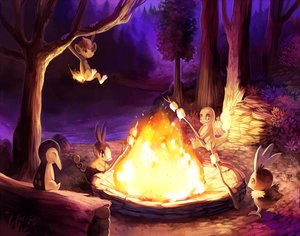 Rating: Safe Score: 49 Tags: animal charmander chimchar cyndaquil fire forest night pokemon purple_kecleon tepig torchic tree User: SonicBlue