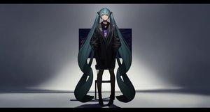 Rating: Safe Score: 26 Tags: aqua_eyes aqua_hair boots choker dark hatsune_miku long_hair necklace silhouette tagme_(artist) twintails vocaloid User: luckyluna