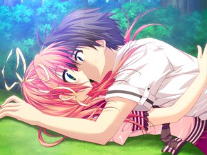 Rating: Safe Score: 133 Tags: feng game_cg grass hoshizora_e_kakaru_hashi kiss long_hair nakatsugawa_ui orange_hair ryohka User: Wiresetc