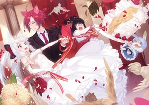 Rating: Safe Score: 55 Tags: animal animal_ears aqua_eyes aqua_hair bird black_hair bunny_ears cake chibi dress elbow_gloves erect_nipples feathers flowers food glasses gloves group headdress long_hair male navel original petals red_eyes red_hair short_hair wedding wedding_attire white_hair yaguo User: RyuZU