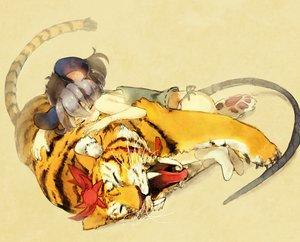 Rating: Safe Score: 36 Tags: animal animal_ears gray_hair mousegirl nazrin panties ribbons short_hair sleeping tail tiger toramaru_shou touhou underwear User: w7382001