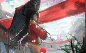 Rating: Safe Score: 221 Tags: braids brown_eyes brown_hair building city japanese_clothes kikivi kimono long_hair original ponytail umbrella User: Flandre93