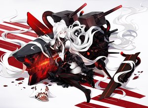 Rating: Safe Score: 209 Tags: aircraft_carrier_hime anthropomorphism dress gloves kantai_collection long_hair neko_(yanshoujie) red_eyes thighhighs torn_clothes white_hair User: Flandre93