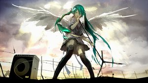 Rating: Safe Score: 138 Tags: animal bird green_eyes green_hair hatsune_miku long_hair loundraw microphone panties signed skirt striped_panties thighhighs twintails underwear vocaloid wings User: opai