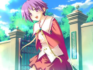 Rating: Safe Score: 4 Tags: blush favorite game_cg happy_margaret! kokonoka purple_eyes purple_hair school_uniform short_hair tsuwabuki_akira User: 秀悟