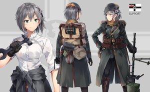 Rating: Safe Score: 83 Tags: battlefield_(series) blush gloves gray_hair green_eyes gun hat neko_(yanshoujie) original pantyhose scarf short_hair shorts weapon User: RyuZU