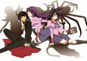 Rating: Safe Score: 105 Tags: araragi_koyomi bakemonogatari black_hair book glasses hanekawa_tsubasa male monogatari_(series) purple_hair scan school_uniform senjougahara_hitagi thighhighs User: Wiresetc