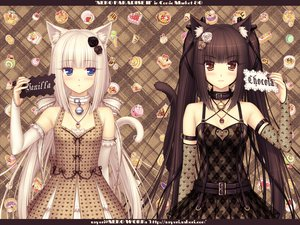 Rating: Safe Score: 613 Tags: 2girls animal_ears black_hair blue_eyes blush brown_hair cat_smile catgirl chocolat_(sayori) collar dress elbow_gloves flowers food long_hair necklace orange_eyes original rose sayori see_through tail twintails vanilla_(sayori) white_hair User: WindSuzu
