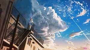 Rating: Safe Score: 40 Tags: banishment clouds original rooftop scenic school_uniform signed sky stairs User: FormX