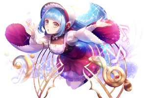 Rating: Safe Score: 27 Tags: aqua_hair brown_eyes corset dress headdress long_hair music tagme_(artist) User: luckyluna