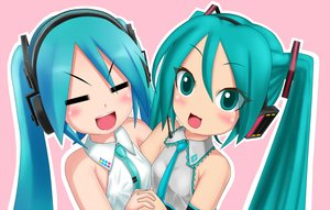 Rating: Safe Score: 14 Tags: blush cat_smile hatsune_miku headphones hug kazu-chan long_hair microphone tie twintails vocaloid User: RyuZU