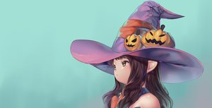 Rating: Safe Score: 34 Tags: brown_eyes brown_hair cyan final_fantasy final_fantasy_xiv gradient halloween hat laejjo loli long_hair pointed_ears witch_hat User: FormX