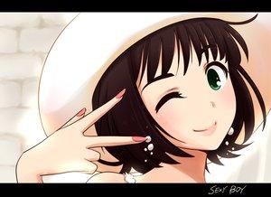 Rating: Safe Score: 24 Tags: amami_haruka brown_hair green_eyes hat idolmaster maiko_(yoshida308) wink User: opai