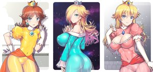 Rating: Questionable Score: 176 Tags: blonde_hair blue_eyes bodysuit breasts cleavage elbow_gloves gloves long_hair nagase_haruhito navel photoshop princess_daisy princess_peach rosalina skintight super_mario User: mattiasc02