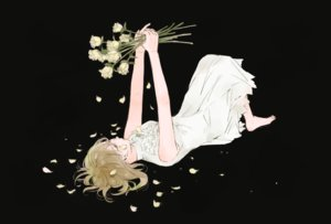 Rating: Safe Score: 41 Tags: barefoot black blonde_hair dress flowers haruco_nmi original petals rose User: otaku_emmy