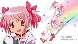 Rating: Safe Score: 19 Tags: bow bow_(weapon) dress gloves kaname_madoka kneehighs kyuubee mahou_shoujo_madoka_magica pink_eyes pink_hair ribbons short_hair twintails weapon User: w7382001