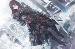 Rating: Safe Score: 340 Tags: aoin_(omegaboost) armor black_hair boots brown_hair flowers long_hair original short_hair snow sword weapon User: Tensa
