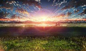 Rating: Safe Score: 141 Tags: bicycle bokuden clouds grass landscape original scenic silhouette sky sunset User: FormX