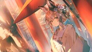 Rating: Safe Score: 31 Tags: animal_ears brown_hair foxgirl garuku japanese_clothes kimono original torii User: BattlequeenYume