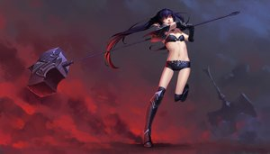 Rating: Safe Score: 130 Tags: aliasing armor black_hair boots daye_bie_qia_lian kneehighs league_of_legends long_hair navel pointed_ears poppy_(league_of_legends) red_eyes shorts twintails weapon User: luckyluna