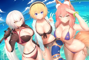 Rating: Safe Score: 77 Tags: animal_ears bikini blonde_hair blue_eyes blush breasts bu_li cleavage clouds fate/grand_order fate_(series) foxgirl gloves jeanne_d'arc_alter jeanne_d'arc_(fate) katana long_hair navel pink_hair ponytail sky swimsuit sword tail tamamo_no_mae_(fate) water weapon white_hair yellow_eyes User: BattlequeenYume