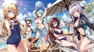 Rating: Safe Score: 113 Tags: alice_(sentouin_haken_shimasu!) barefoot beach bicolored_eyes bikini black_hair blonde_hair blue_eyes blue_hair blush breasts cleavage clouds drink food grimm_(sentouin_haken_shimasu!) group kakao_rantan long_hair navel pointed_ears red_eyes rose_(sentouin_haken_shimasu!) school_swimsuit sentouin_haken_shimasu! short_hair sky snow_(sentouin_haken_shimasu!) swimsuit tail tree water white_hair yellow_eyes User: mattiasc02