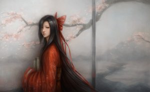 Rating: Safe Score: 227 Tags: black_eyes black_hair bow cherry_blossoms japanese_clothes jason_peng kasugano_tsubaki kimono long_hair mirai_nikki realistic User: Flandre93