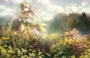 Rating: Safe Score: 147 Tags: apple228 aqua_eyes blonde_hair clouds flowers long_hair original petals sky User: luckyluna