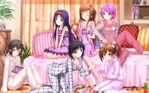Rating: Safe Score: 272 Tags: ayano_keiko barefoot bed black_hair book breasts brown_hair cleavage fairy food glasses group kirigaya_suguha konno_yuuki long_hair pajamas pink_hair purple_hair ribbons shinon_(sao) shinozaki_rika sword_art_online swordsouls twintails yui_(sword_art_online) yuuki_asuna User: gnarf1975