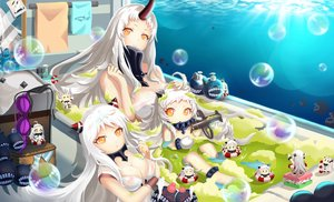 Rating: Safe Score: 117 Tags: admiral_(kancolle) airfield_hime anthropomorphism breasts bubbles chibi cleavage hongse_beiyu horns kantai_collection loli long_hair northern_ocean_hime orange_eyes seaport_hime white_hair User: Flandre93