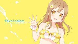 Rating: Safe Score: 84 Tags: 6u_(eternal_land) bikini blush brown_hair kunikida_hanamaru long_hair love_live!_school_idol_project love_live!_sunshine!! orange_eyes swimsuit wristwear yellow User: Animated