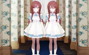 Rating: Safe Score: 85 Tags: 2girls apron brown_eyes brown_hair cosplay cropped dress gocoli idolmaster idolmaster_shiny_colors loli lolita_fashion oosaki_amana oosaki_tenka parody the_shining third-party_edit twins waifu2x yellow_eyes User: gnarf1975