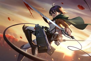 Rating: Safe Score: 40 Tags: blood blue_eyes boots brown_hair cape jun_luo mikasa_ackerman petals shingeki_no_kyojin short_hair sword weapon User: RyuZU