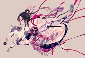 Rating: Safe Score: 47 Tags: animal barefoot black_hair bow dog flowers japanese_clothes long_hair maruino petals ribbons sword translation_request weapon User: RyuZU