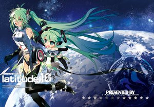 Rating: Safe Score: 54 Tags: hatsune_miku long_hair space starshadowmagician thighhighs twintails vocaloid User: opai