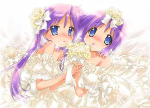 Rating: Safe Score: 88 Tags: blue_eyes dress flowers hiiragi_kagami hiiragi_tsukasa long_hair lucky_star nyanmilla purple_hair short_hair twintails wedding_dress User: SciFi