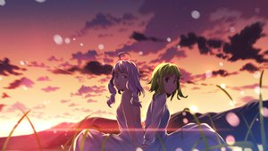 Rating: Safe Score: 65 Tags: 2girls clouds dress green_hair gumi sky sunset vocaloid yuuji_(yukimimi) yuzuki_yukari User: opai