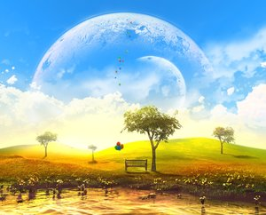 Rating: Safe Score: 112 Tags: 3d clouds flowers grass landscape moon nobody original scenic sky tree water y-k User: STORM