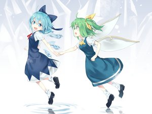 Rating: Safe Score: 26 Tags: 2girls aqua_eyes aqua_hair asutora bow cirno daiyousei dress fairy green_eyes green_hair ponytail short_hair socks touhou water wings User: otaku_emmy