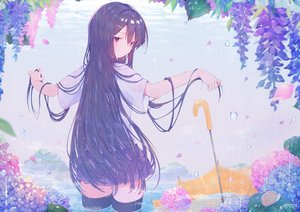 Rating: Safe Score: 46 Tags: amakawatamawono black_hair blush flowers long_hair original purple_eyes rain school_uniform signed thighhighs umbrella water zettai_ryouiki User: BattlequeenYume