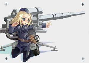 Rating: Safe Score: 13 Tags: anthropomorphism blonde_hair blue_eyes hat kurudaz mechagirl original uniform weapon User: Oyashiro-sama