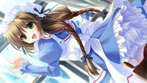Rating: Safe Score: 45 Tags: bloomers braids brown_hair cabbit game_cg green_eyes haina_(midori_no_umi) long_hair midori_no_umi yukie User: Katsumi