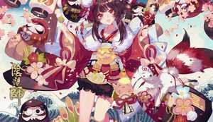 Rating: Safe Score: 35 Tags: animal bell bloomers brown_hair cherry_blossoms dj.adonis doll fang food fox fruit japanese_clothes kagura_(onmyouji) kimono mask onmyouji orange_(fruit) red_eyes short_hair User: RyuZU