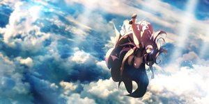 Rating: Questionable Score: 25 Tags: aqua_eyes c.c.r_(ccrgaoooo) clouds headphones long_hair megurine_luka pantyhose pink_hair sky vocaloid User: RyuZU