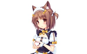 Rating: Safe Score: 61 Tags: animal_ears azuki_(sayori) bell blush bow brown_eyes brown_hair catgirl headdress heart maid nekopara photoshop sayori short_hair twintails uniform waitress white wristwear User: RyuZU