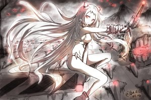 Rating: Safe Score: 121 Tags: airfield_hime anthropomorphism boyogo horns kantai_collection long_hair polychromatic red_eyes signed sketch User: vf.nightcore