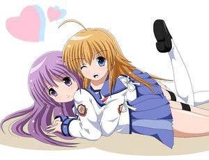 Rating: Safe Score: 13 Tags: 2girls angel_beats! blue_eyes brown_hair fai hug irie_miyuki long_hair purple_eyes purple_hair school_uniform sekine_shiori skirt thighhighs wink User: Kumacuda