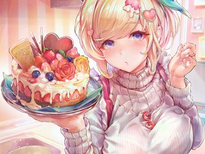 Rating: Safe Score: 64 Tags: apron blonde_hair blue_eyes breast_hold breasts cake chocolate close food fruit original pocky strawberry tocope User: otaku_emmy
