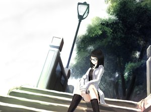 Rating: Safe Score: 90 Tags: black_eyes black_hair boots glasses kikivi original stairs tree User: FormX